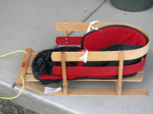 JAB Wooden Baby Sleigh, Child's Wood Snow Sled with pad
