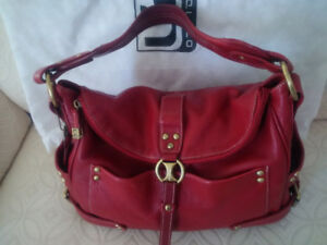 Red Pebble Leather Purse by Soprano - Slight Hobo style