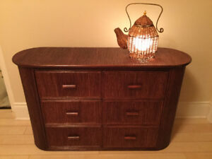 Wooden Cabinet Plus Wicker/ Osier Table Lamp Set