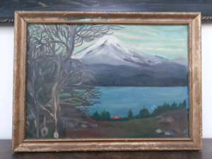 Signed 1952 Painting of Yellowstone Volcano by G. Van Ness 8x13""