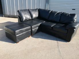 Black faux leather corner sofa couch suite 🚚🚚