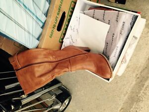 Knee length soft leather look boots