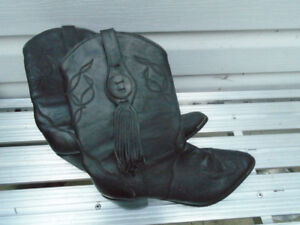 New Oak Tree Farms Black Leather Western Cowboy Boots 9