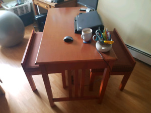 Desk with two bench seats