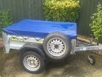 "Larger Trelgo tipping trailer + cover + spare wheel 13"" wheels"