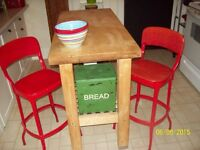 2 VINTAGE RED METAL CHAIRS HIGH AT 35 INCHES