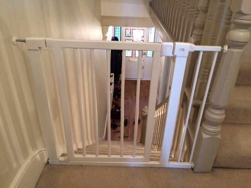 White Wooden Stair Gate With Extension For Wider Stair Case In