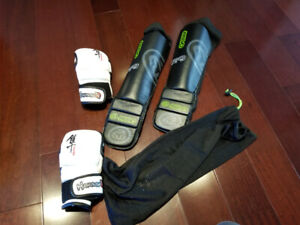 MMA UFC Hybrid Gloves and Shin Guards with foot cover