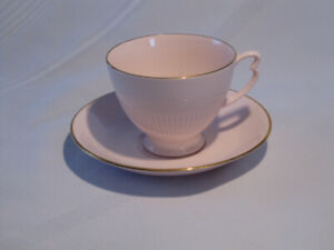 Vintage Teacup and Saucer Pink with gold trim