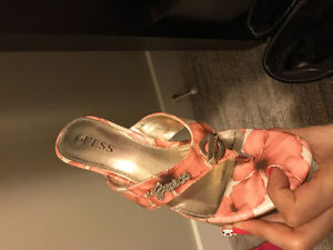 Pink floral high sandals from guess