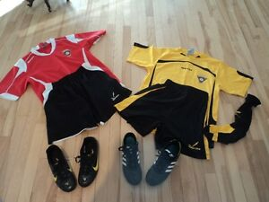 2 PAIRS OF BOY`S SOCCER SHOES & 2 UNIFORMS