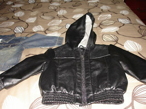 NEW LEATHER JACKET  WITH HOOD SIZE 3T. NEVER WORN FROM SMOKE & P