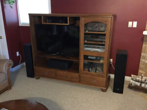 """Oak TV Cabinet with 46"""" TV"""