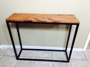 Metal and pine console table