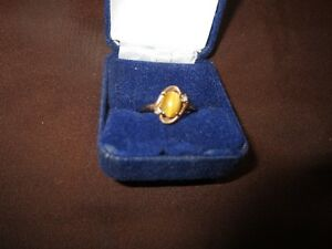 10 KT GOLD TIGERS  EYE LADIES RING