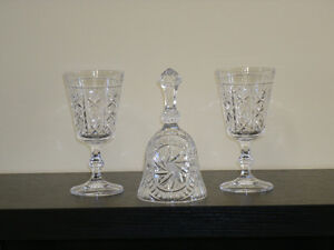 Pinwheel Crystal Goblets and Bell