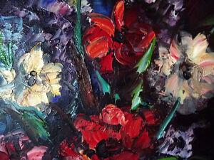 "2 Still Lifes, Oils, by Willem Reinders ""Flowers in a Vase"" 1951 Stratford Kitchener Area image 8"