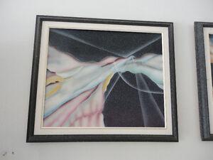 Set of 2 black abstract print framed wall hanging decor London Ontario image 6