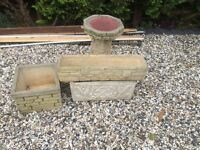 Stone Bird Bath and Planters