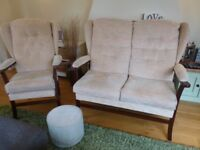 Small Two Seater Settee, Armchair & Footstool.
