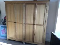 Solid oak double wardrobe