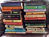 30 books, mostly fiction