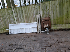 Free wheel barrow, concrete lintels, ladder part