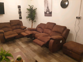 DFS FABRIC ELECTRIC RECLINER 3+2 SEATER SOFAS WITH FOOT STOOL STORAGE