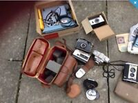 Camera and old projector antique joblot carboot
