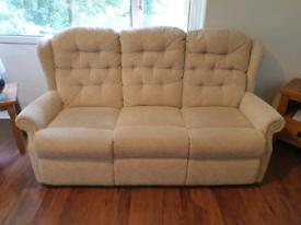 Free Cream fabric 3 seater sofa in vgc