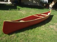 17' Fiberglass and wood canoe