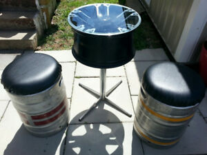 Bar stool and table.