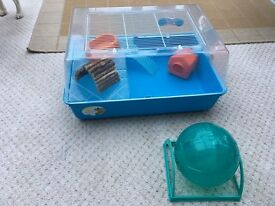 Hamster cage bowl and house Plus exercise ball .