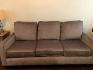 Couch - Grey velvet / chenille couch