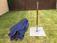 Large rectangular table parasol with base