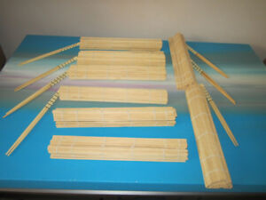 chops sticks 8 pairs and Place mats.  $10.00.  Bamboo