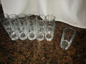 "12  QUALITY  SHOOTER  GLASSES  -  3.25"" tall,  octagon shaped"