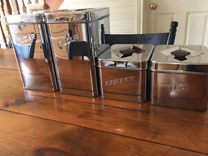 Vintage Antique Kitchen Tin Canister Set by Canette