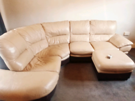 Large beige/cream leather corner suite, with pouffe with storage,