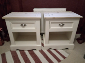 PAIR OF CREAM PAINTED SOLID PINE ,BEDSIDE CABINETS, WITH STORAGE