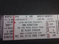One direction tickets Friday, July 17 7 PM show
