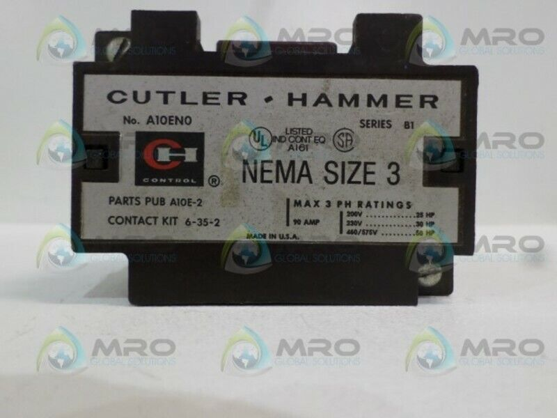 CUTLER HAMMER A10EN0 CONTACTOR (AS PICTURED) *USED*