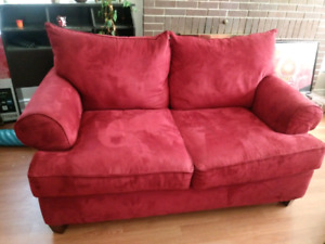 delivery included- like new red microfiber loveseat