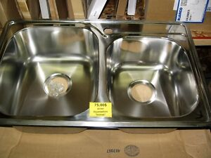 Évier cuisine stainless 2 cuves 31'' x 20'' ( bosse coin)
