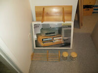 Solid Pine printer stand, book shelf, 3wall shelves & containers