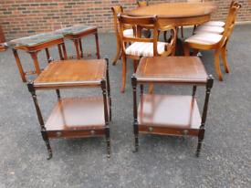 39. Pair of dark wood inlayed end tables