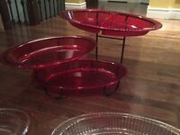 3 Tier Serving Tray Set - Two Different Colour Trays (7 pieces)