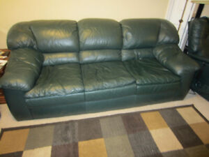 Green all Leather couch loveseat and electric lift recliner $100