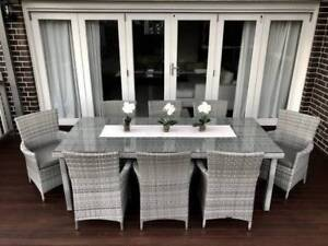 WICKER DINING SETTING,8 SEATER,STUNNING EUROPEAN STYLE,AGED GREY