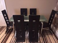 Clear Glass Dining set 8 Black Chairs Extendable